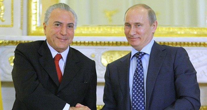 Michel Temer, presidente de Brasil, y Vladímir Putin, presidente de Rusia (archivo)