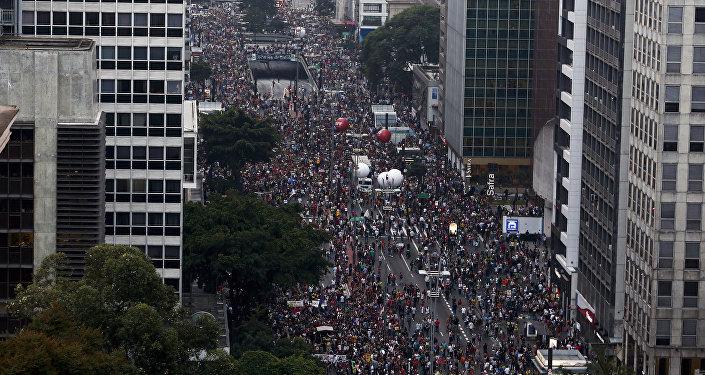 Huelga contra las reformas de Temer en Brasil (archivo)
