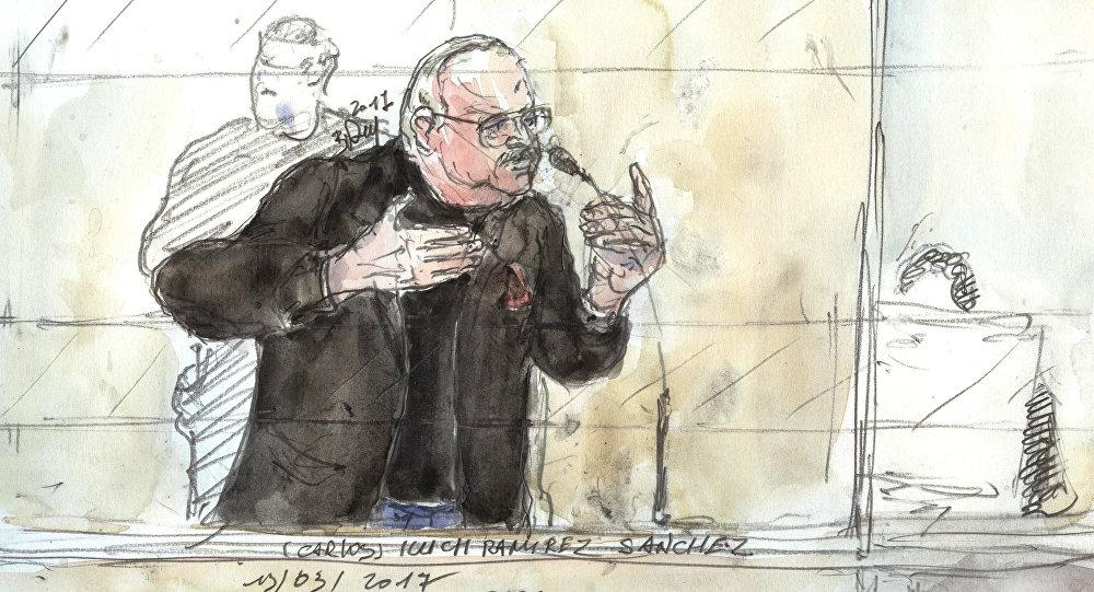 Esbozo de Ilich Ramírez Sánchez, más conocido como 'El Chacal', en la corte