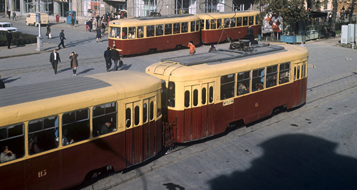Tranvías moscovitas en los años setenta