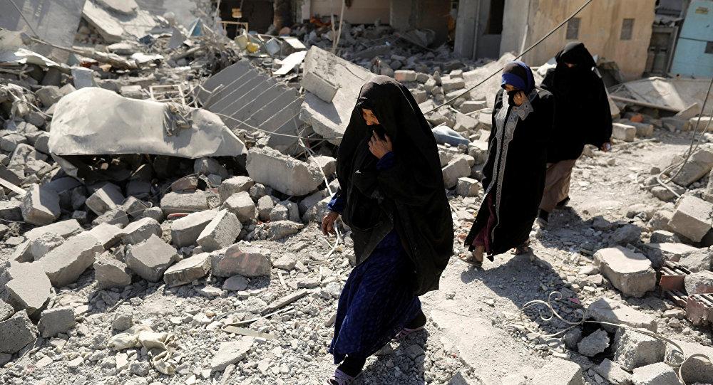 Unas mujeres en Mosul