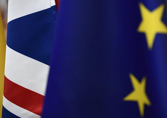 Bandera del Reino Unido y la UE