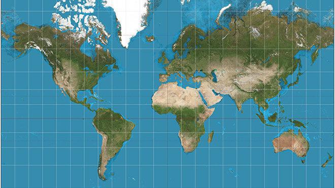 Proyección cartográfica del planeta Tierra ideada por Gerardus Mercator en 1569.