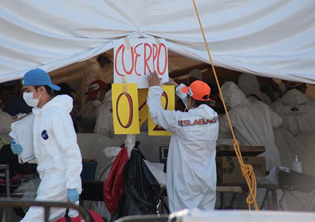 Exhumación de 35 cadáveres de una fosa común, Jojutla, México