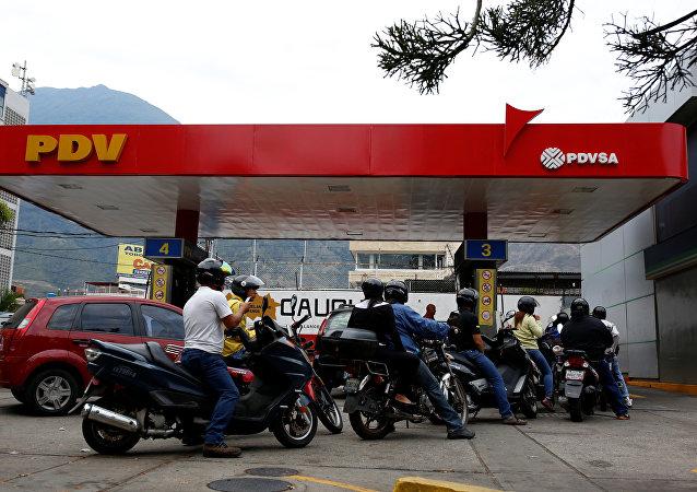 Una estación de gasolina en Caracas