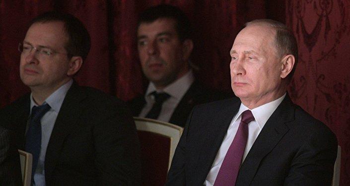 Vladímir Putin, presidente de Rusia, en el Teatro Máliy