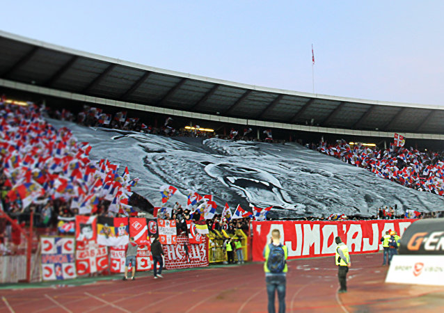 El partido amistoso entre Spartak y Crvena Zvezda en el estadio Rajko Mitic