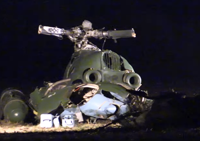 Imágenes del lugar del accidente de la aeronave Mi-2 de las Fuerzas Armadas ucranianas