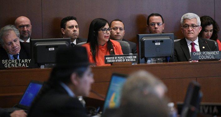 Delcy Rodríguez, ministra de Exteriores de Venezuela, durante la sesión del Consejo Permanente de la OEA