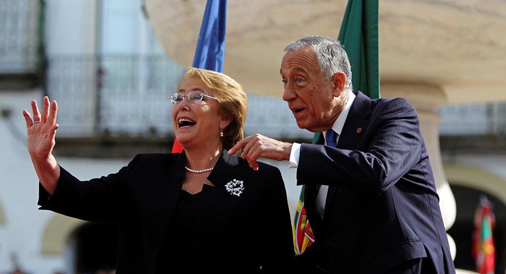 Presidenta de Chile, Michelle Bachelet, y su homólogo portugués, Marcelo Rebelo de Sousa