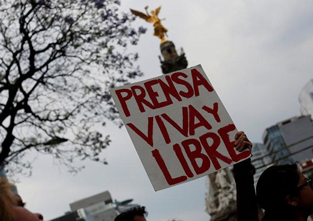 Protesta contra el asesinato de una periodista mexicana (archivo)