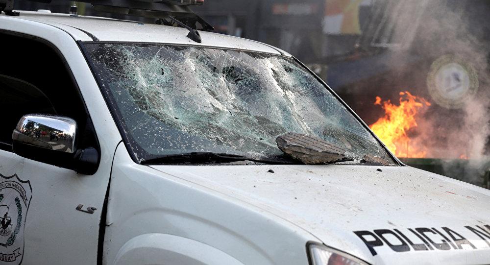 Manifestación violenta en Paraguay