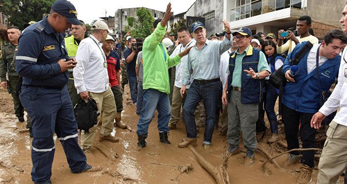 Juan Manuel Santos, presidente de Colombia, en el municipio de Mocoa, en Putumayo (suroeste)