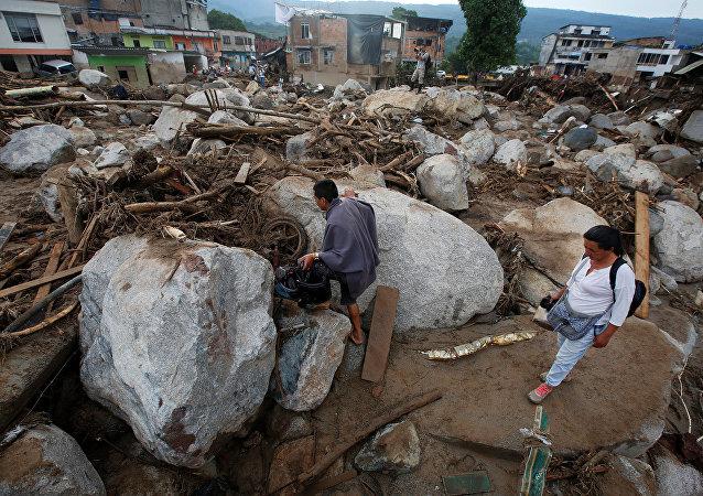 Una avalancha de lodo y piedras en el municipio de Mocoa, Putumayo, Colombia (archivo)