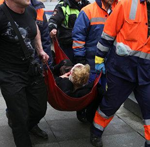 Persona herida por la explosión en el metro de San Petersburgo (archivo)