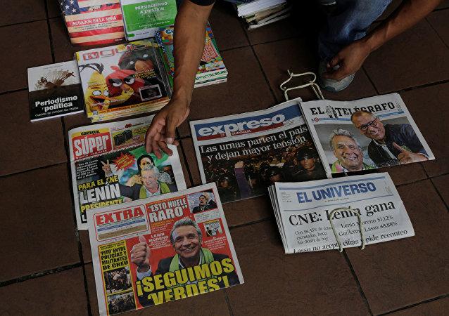 Periódicos en Ecuador tras la victoria de Lenín Moreno en las elecciones presidenciales