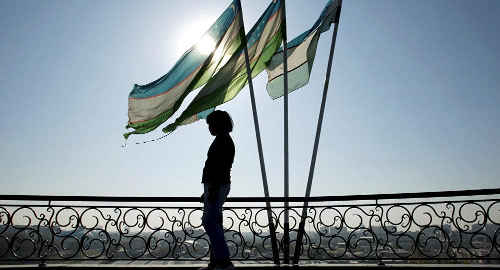 Las banderas de Uzbekistán (archivo)