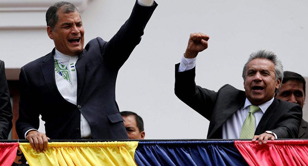Expresidente de Ecuador, Rafael Correa y el actual presidente Lenin Moreno