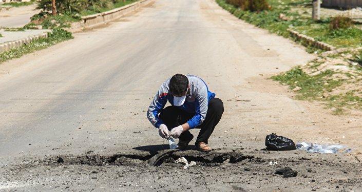 Lugar del ataque químico en Jan Sheijun, Idlib