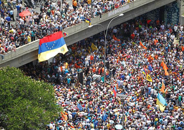 Movilización opositora en Venezuela