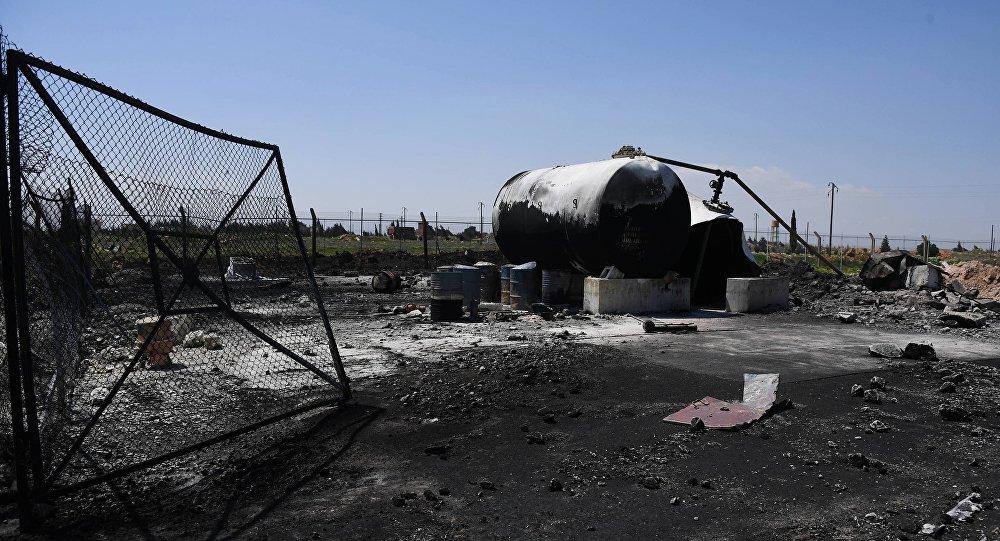 Base aérea Shairat en Siria tras el bombardeo (archivo)