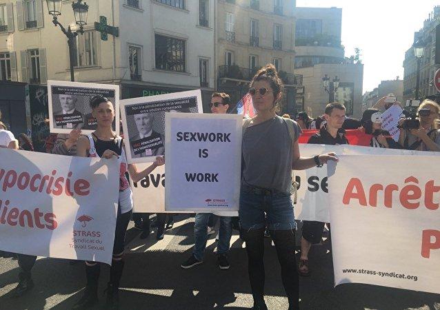 Protesta de prostitutas en París