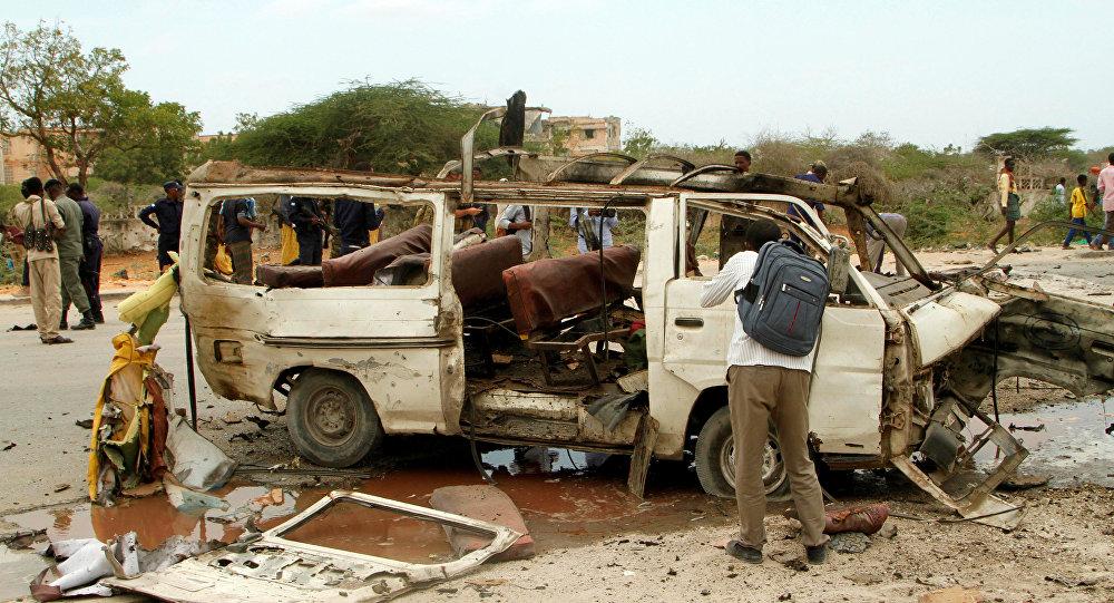 El lugar del ataque en Mogadiscio