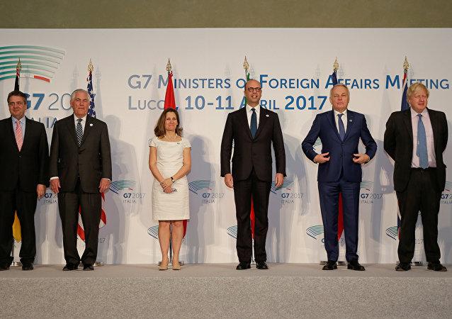Los ministros de Exteriores del G7 en Lucca