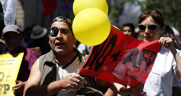 Protestas en Chile contra el sistema de jubilaciones (archivo)