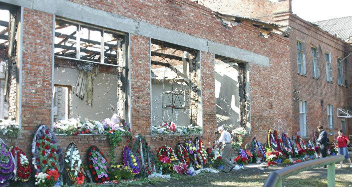 El lugar del atentado terrorista en la escuela Nº 1 de Beslán, en Osetia del Norte.