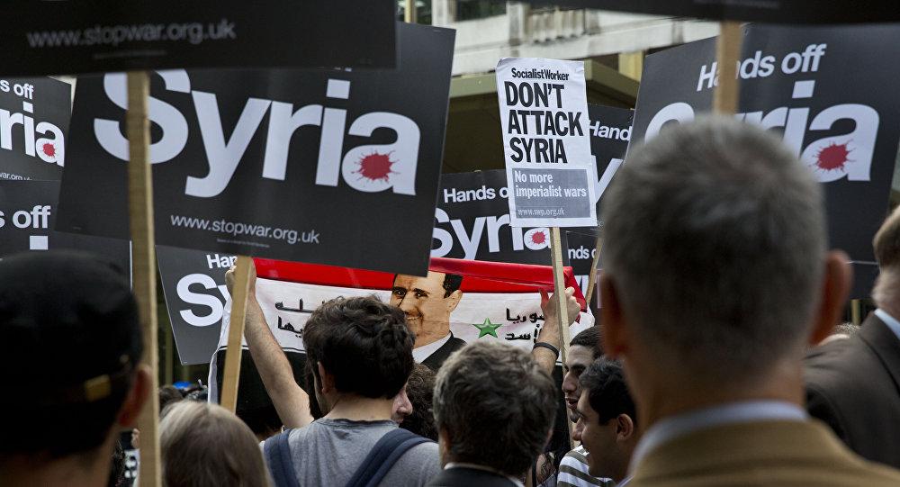 Una protesta contra la intervención militar en Siria