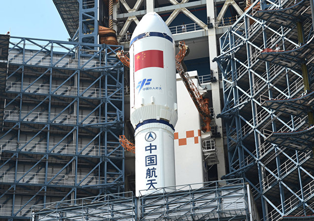 Long March-7 rocket and Tianzhou-1 cargo spacecraft are seen as they are transferred to a launching spot in Wenchang, Hainan province, China, April 17, 2017.
