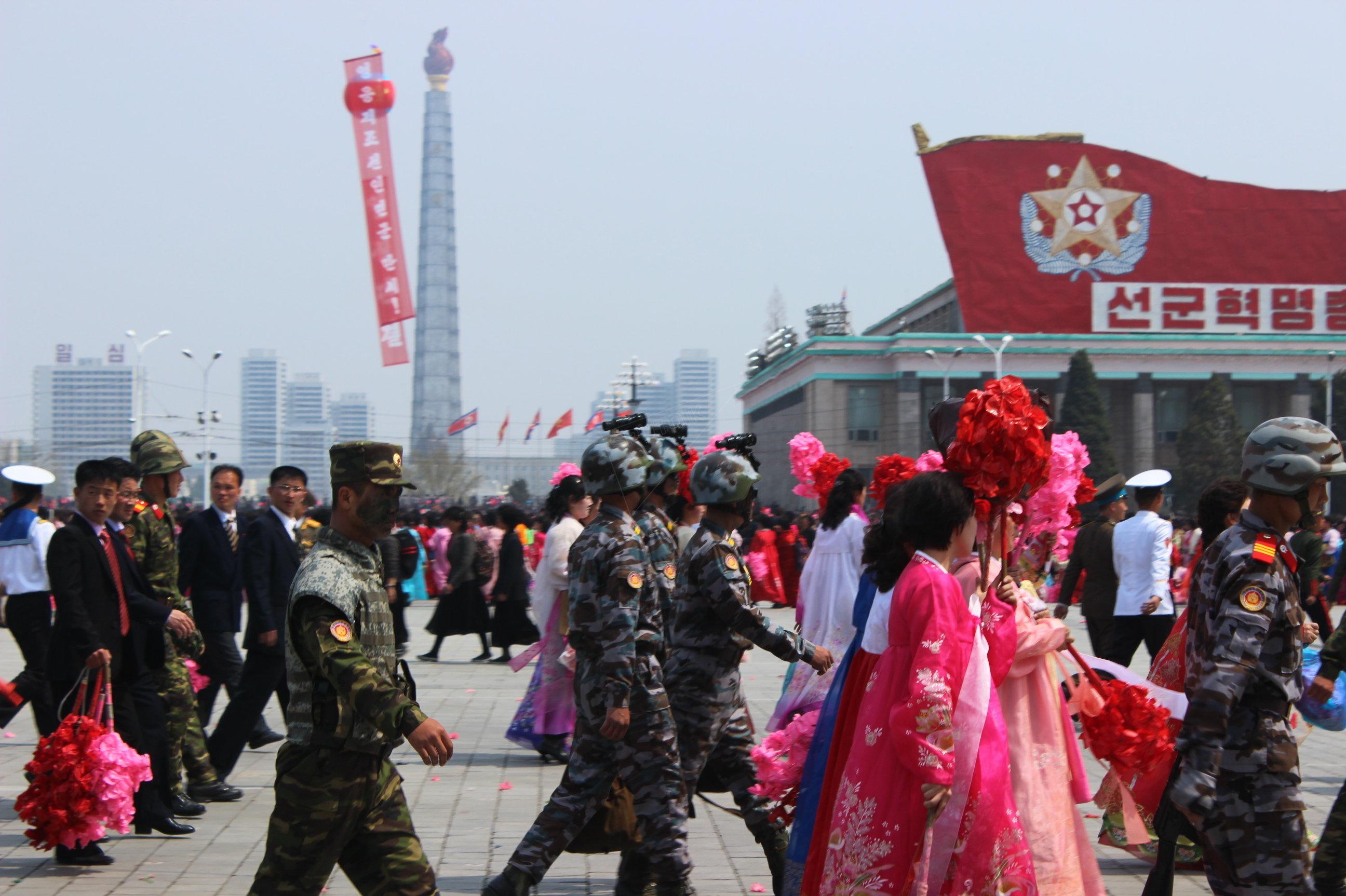 Soldados en Pyongyang