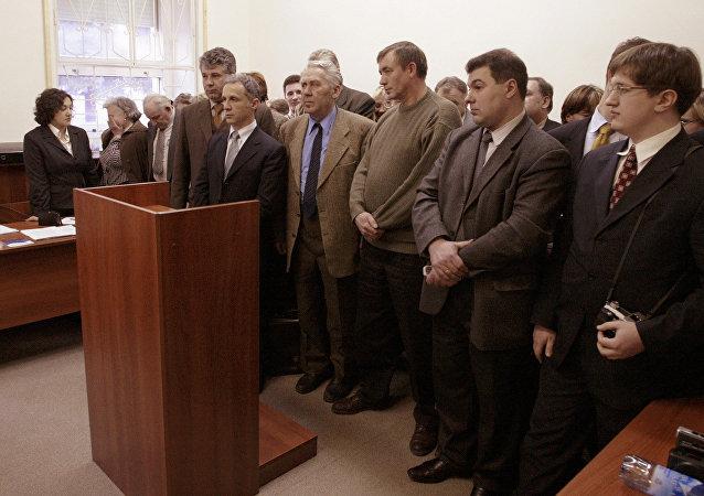 Miembros de los Testigos de Jehová durante el juicio en Moscú (archivo)