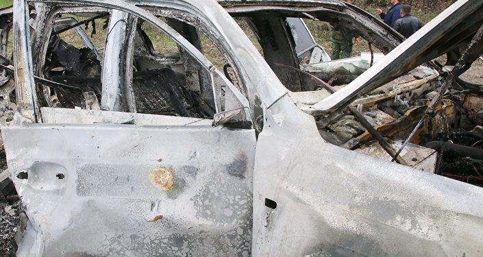 El coche de OSCE explotado en el este de Ucrania