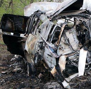 El coche de la OSCE explotado en Donbás