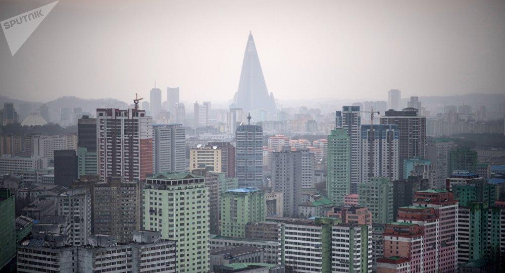 La vista de Pyongyang, la capital de Corea del Norte