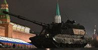 Ensayo nocturno del Desfile de la Victoria en la Plaza Roja