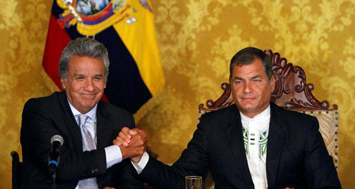 Lenín Moreno, presidente de Ecuador y Rafael Correa