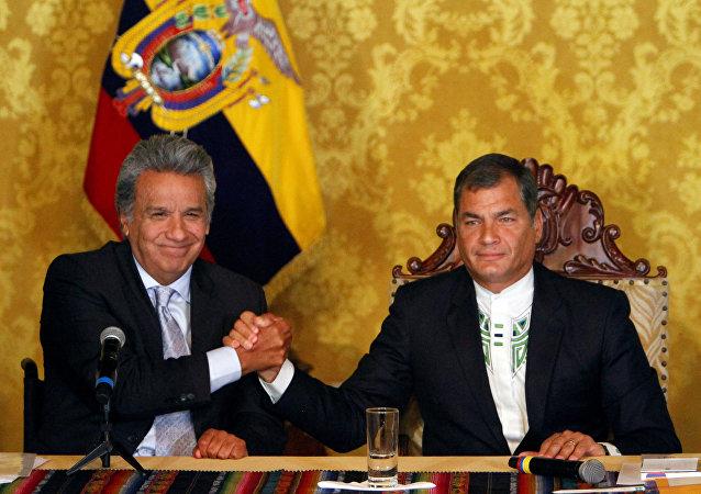 Lenín Moreno, ganador de presidenciales, y Rafael Correa, presidente de Ecuador