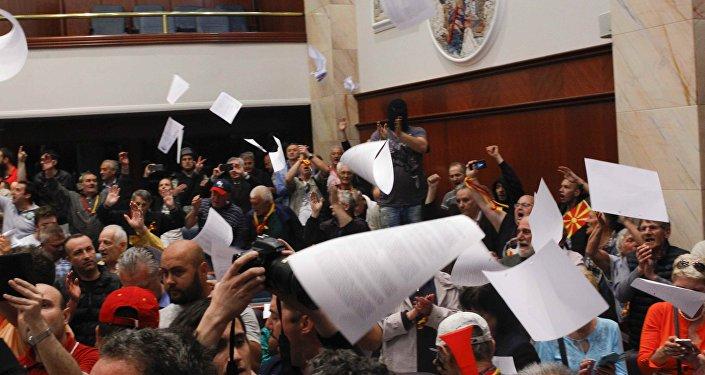 Las protestas en el Parlamento de Macedonia