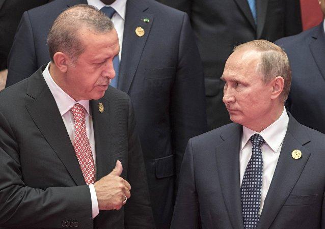 El presidente ruso, Vladímir Putin, con su homólogo turco, Recep Tayyip Erdogan (archivo)