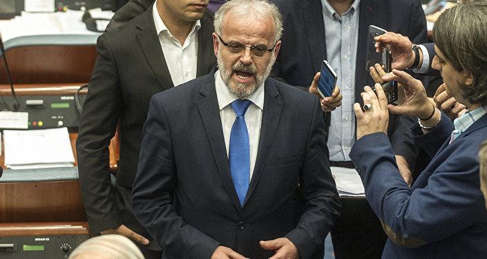 Talat Xhaferi, presidente del parlamento de Macedonia