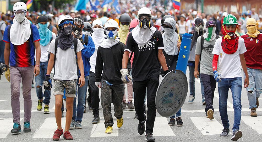 Una manifestación antigubernamental en Caracas
