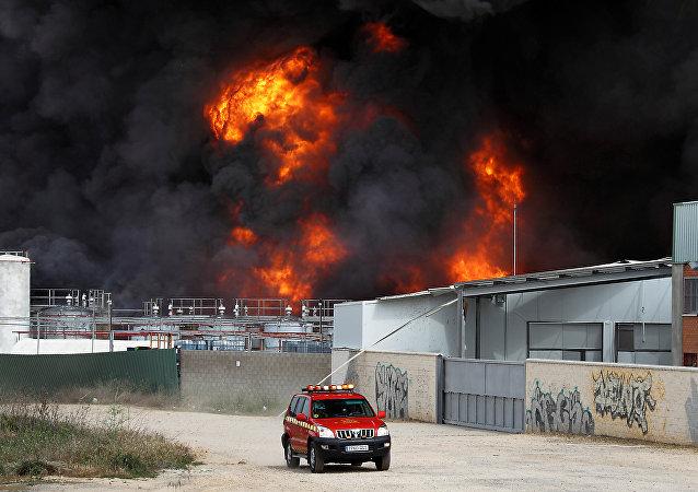 Incendio en Madrid, España