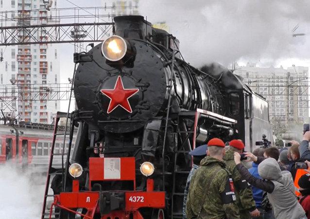Encuentro de dos trenes 'Ejército de la Victoria'