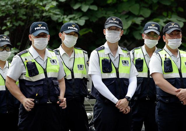 Policías surcoreanos