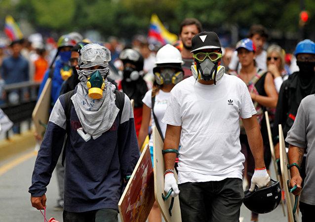 Los manifestantes en Venezuela