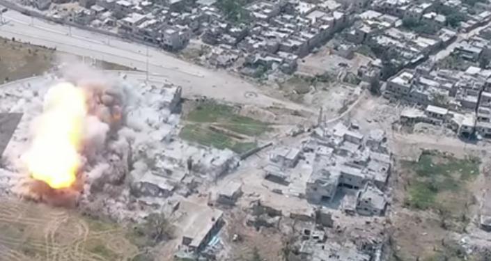 Un aparato de desminado aniquila las posiciones de los terroristas en Siria