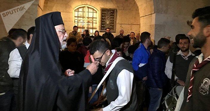 La misa de Pascua en Siria